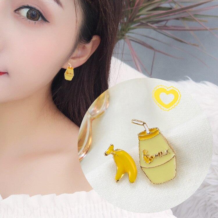 2019 New S925 Silver Needle Korea Children 39 s Fun Wind Banana Milk Asymmetry Cute Primitive Earrings for Girls Earrings in Stud Earrings from Jewelry amp Accessories