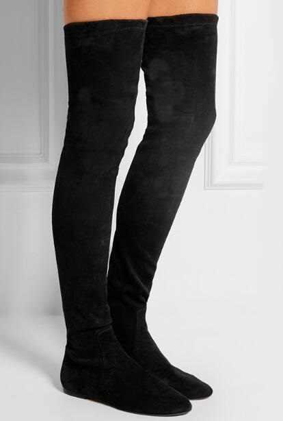 3ca68409c528 Лидер продаж замшевые ботфорты черного цвета с круглым носком облегающие ...