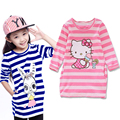 New Girls clothes autumn casual dresses kids girl dress children Cartoon stripe hello kitty Donald Duck rabbit dress girl 2-8Y
