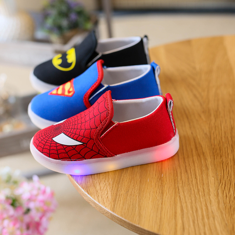 LED light shoes children canvas shoe Batman cartoon Printed baby girls sneakers for Boys Luminous Sneaker Casual rubber sole