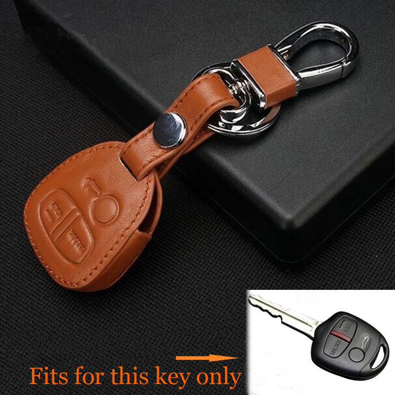 Leather Remote Key Case Cover Fit For 3 Buttons Mitsubishi Lancer Outlander Colt