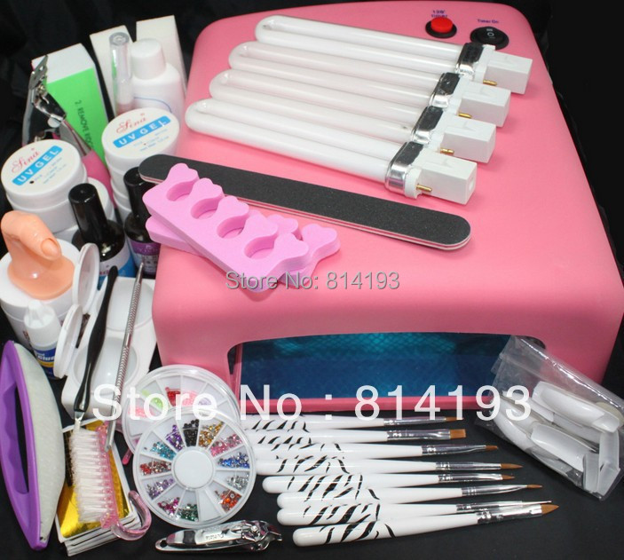 Pro 36W UV GEL Pink Lamp & 8 Brush Nail Art Tool Sets pro 36w uv gel pink lamp