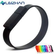 LEIZHAN USB Flash Drive Bracelet Wrist Band Computer Memory Card Silicone USB Pen Drive Pendrive 64g 32g 16g 8g 4g USB Stick 2.0