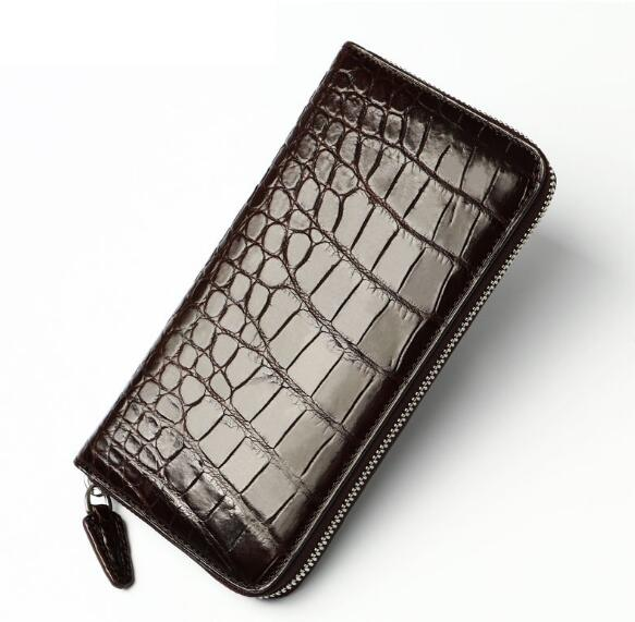 Genuine leather crocodile skin long zip plaid purse for men high quality plaid insert side zip hooded tee