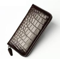 Genuine leather crocodile skin long zip plaid purse for men high quality