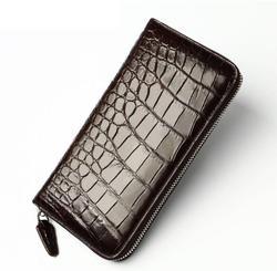 Genuino cuero cocodrilo piel larga de cremallera de cuadros bolso para hombres de alta calidad