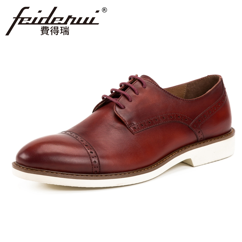 New Vintage Genuine Leather Men's Handmade Footwear Round Toe Lace up Man Formal Dress Wedding Party Carved Brogue Shoes KUD164 цена и фото
