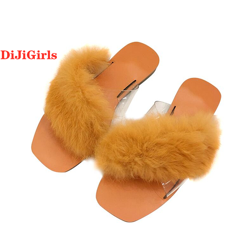 Dijigirls Women Sandals Beach-Shoes Flat Upper Fashion Summer Fur New Cute Flop Decorative