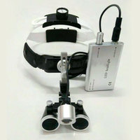 Dental Loupe 2.5X 3.5X Headband Magnifying Glass Surgery Head mounted Magnifier with LED light