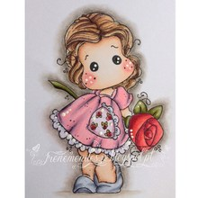 flower girl cartoon pattern Stamp And metal die Scrapbooking Alphabet Embossing Craft Silicone Transparent Stamps