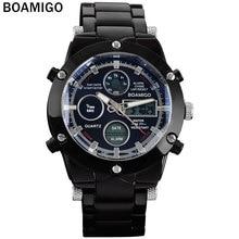 Мужчины спортивные часы двойной дисплей часы аналоговый цифровой СВЕТОДИОДНЫЙ Электронные кварцевые часы черный стальной ленты BOAMIGO марка 30 М Водонепроницаемый