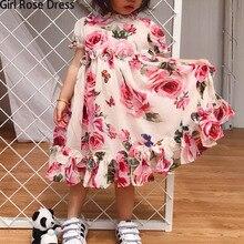 Letni kwiat dziewczyna Tutu róża jedwab 3D sukienka dzieci księżniczka sukienka ze sztucznego jedwabiu wesele urodziny dziecka dziewczyna sukienka z nadrukiem dla dziecka