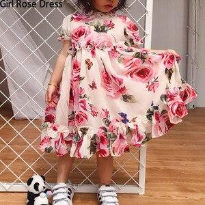 Image 1 - Letni kwiat dziewczyna Tutu róża jedwab 3D sukienka dzieci księżniczka sukienka ze sztucznego jedwabiu wesele urodziny dziecka dziewczyna sukienka z nadrukiem dla dziecka