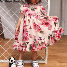 Summer Flower Girl Tutu Rose Silk 3D Dress Children Princess Rayon Dress Party Wedding Birthday Baby Girl Printed Dress For Kid