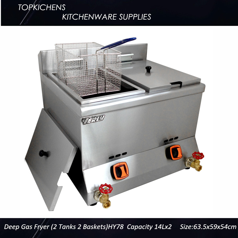 Commerical Deep Gas fryer(2 tank 2 basket)14Lx2 HY78 1pc gas type stainless steel food fryer french fries fryer potato deep fryer deep fat gas fryer