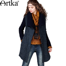 Artka das mulheres do Inverno Do Vintage Da Moda Turn-Down Collar Longo-Luva de Slim Cintura Patchwork Mid-Longo Casaco De Lã WA10043D