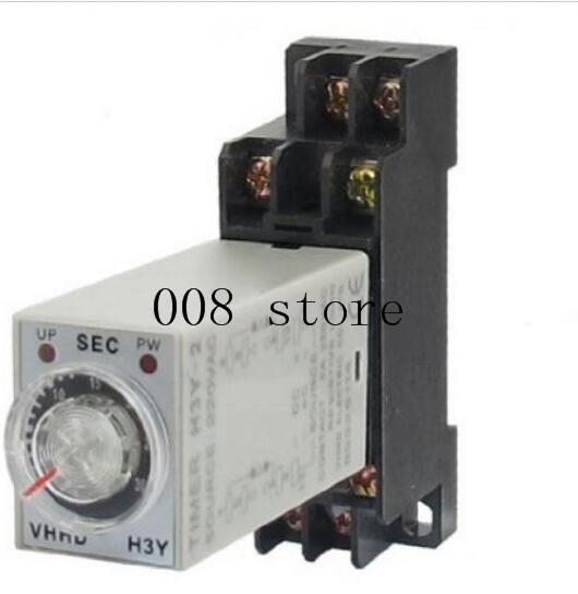 H3Y-2 AC 220V Delay Timer Time Relay 0 - 30 Minute with Base ah3 3 ac 380v 0 30 minutes 8p terminals delay timer time relay w base
