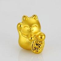 999 24K Solid Yellow Gold bracelet/ Bless Lucky Cat red Red Weave String Bracelet 1g