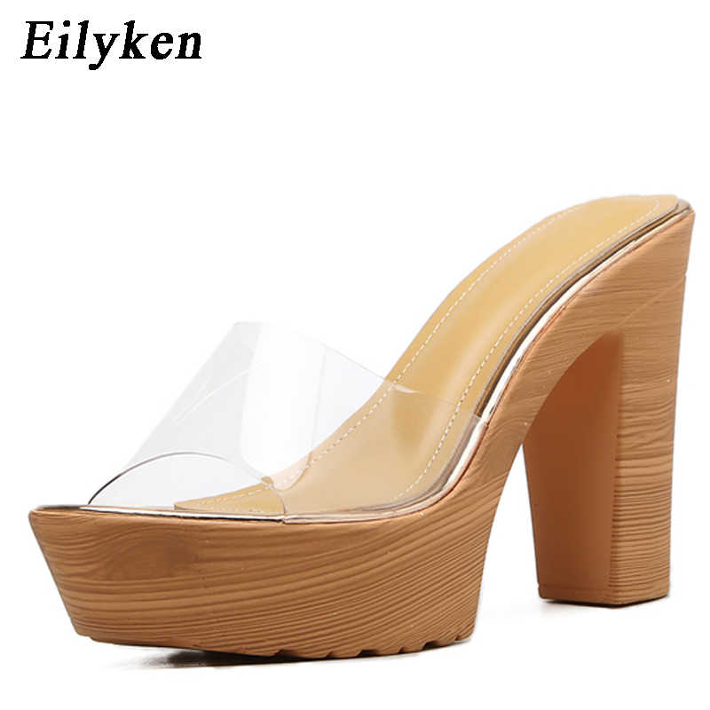 2327b2f573a3a ... Eilyken Women Summer Open Square Toe Slippers PVC Strap Thick Block  High Heels Woman OL Mules ...