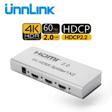 Unnlink HDMI Splitter 1X2 HDMI2.0 UHD 4K@60HZ 4:4:4 10Bit HDR HDCP 2.2 3D for LED Smart tv mi box ps4pro xbox one s/x projector