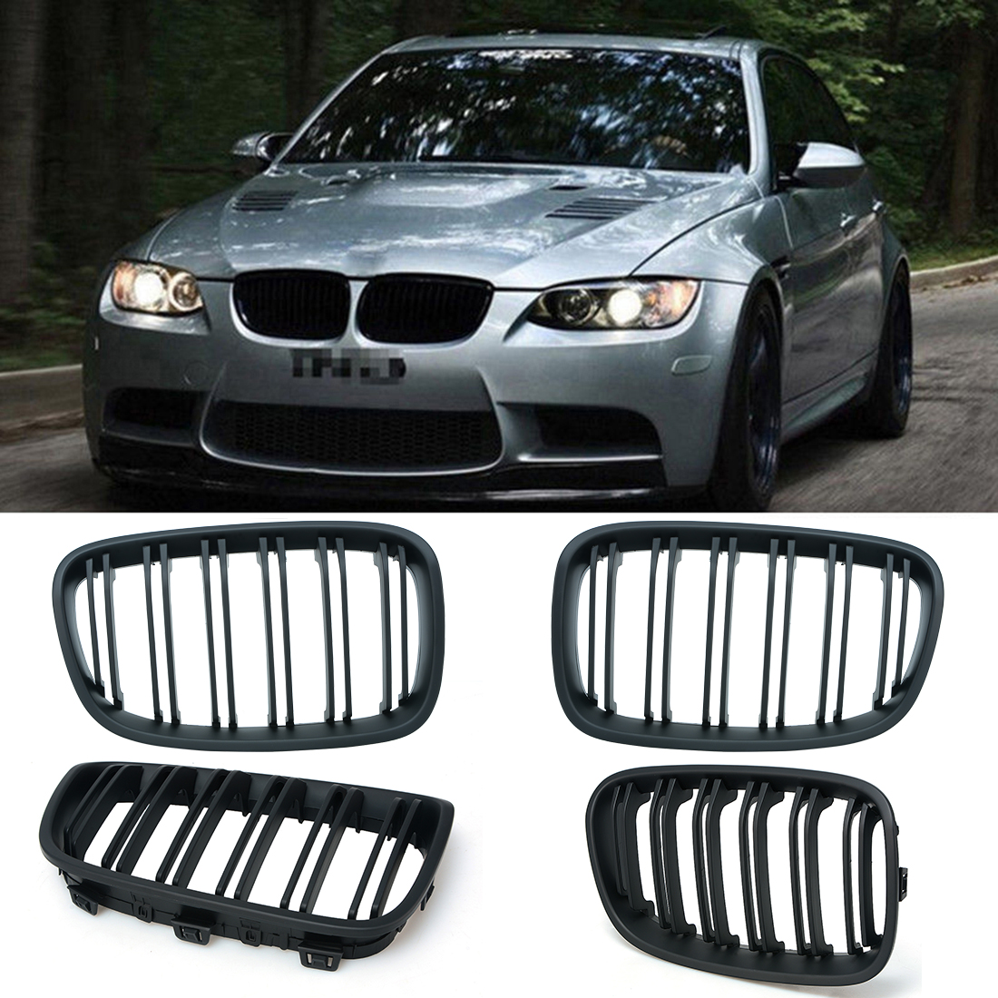 1 Pair Matt Black Front Kidney Grille Grills For BMW F20 1 Series 2011-2014 Car Racing Grille D10 P8 2pcs front grille bumper hood grill grilles automobile front kidney grille for bmw 1 series f20 2012 2014 glossy black