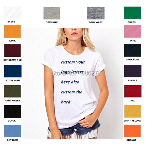 Custom Women White Plain T Shirts Plus size XS-2XL Personalized Many colors  Printed T-Shirt Family , Student . Company Stuff