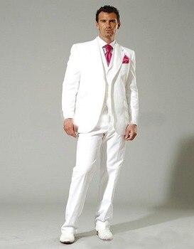 Shiny Wedding Suit White Groom Tuxedos 3 Pieces Mens Suits For Wedding Tuxedo Bridegroom Suits (jacket+pants+vest+tie)