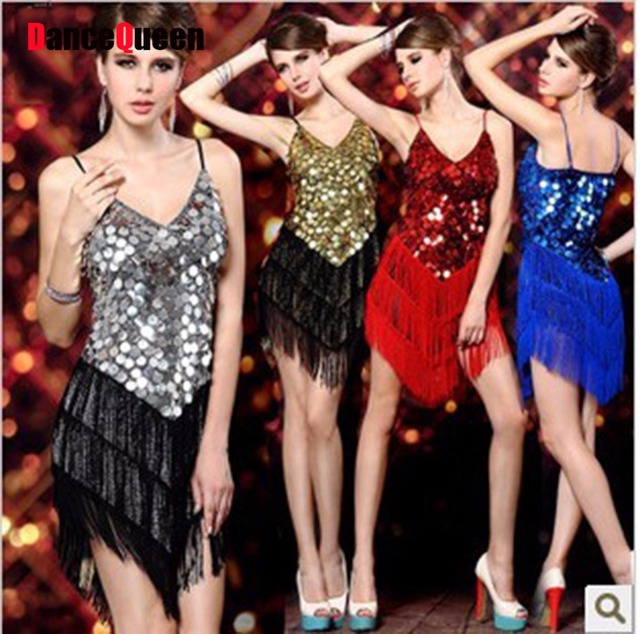 2017 Sexy Vintage Roaring 20s 1920s Gatsby Girl Ladies Flapper Dance Costumes Dress Female Party City