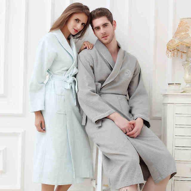 Waffle albornoz hombres mujeres de rizo de algodón más el tamaño XL de los hombres robe camisón de las señoras de largo soft home hotel primavera verano