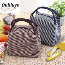 1PCS Ouliluye Furniture Lunch Box Bags For Kids Food Drink Canvas Bag Stripes Fashion Insulation Portable