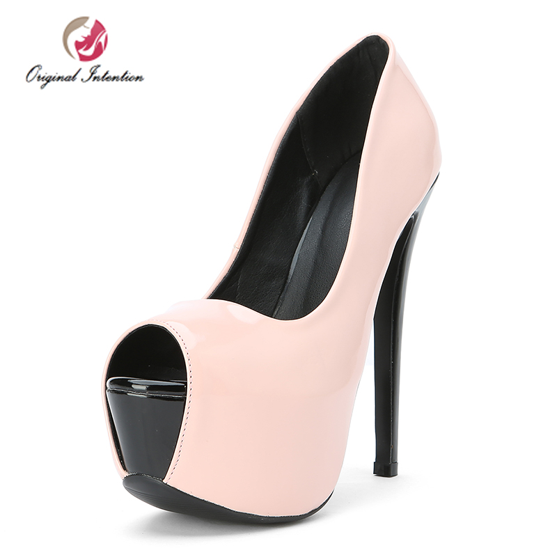 Original Intention Women Fashion Pumps Platform Stiletto High Heels Shoes Woman Peep Toe Ladies Wedding Shoes