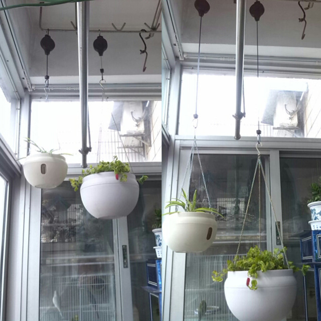 2pcs telescopic Retractable Pulley Hanging Basket Pull Down Hanger can load under 15kg weight  20cm-90cm length
