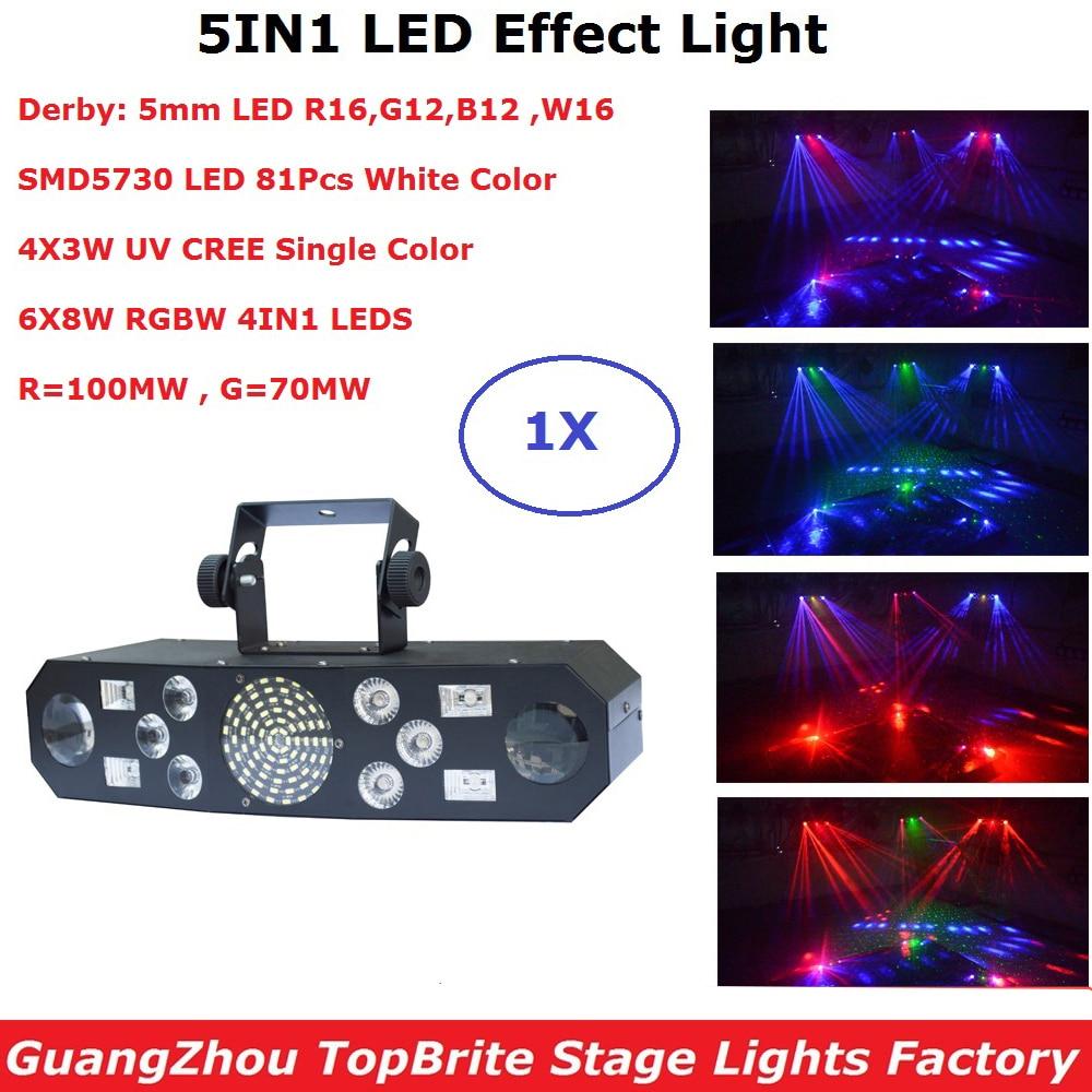 5IN1 Laser Flash Strobe Butterfly Derby Lights 6X8W RGBW 4IN1 DMX Disco Light DMX Controller Laser