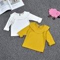 Crianças queda rodada grande lapela tops cor Sólida longo-sleeved primavera camisa primer girs Do Bebê T-camisa 1-4 anos de idade Menina roupas