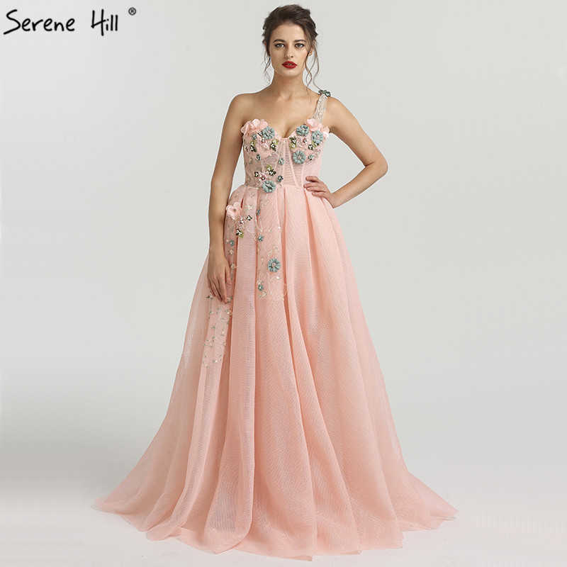 d49631bd806d8 2018 One Shoulder Handmade Flowers Evening Dresses Party Long Formal Dress  Real Picture Robe De Soiree Serenehill BLA6512