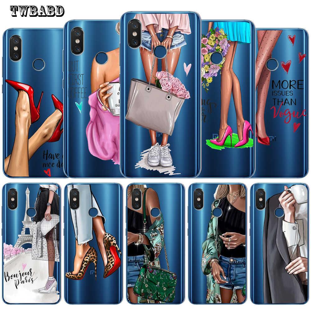 Miękkiego silikonu mody dziewczyna kobieta obudowa do Xiaomi Redmi 4X 4A 5A 5 Plus uwaga 7 4X 5A 5 6 Pro 6 6A 6Pro Xiaomi 5X6X8 A2 Lite