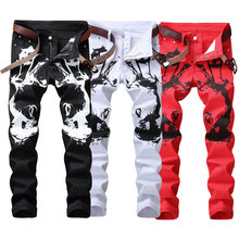 Fashion Streetwear Mens Jeans Slim Fit White Black Red Color Elastic Punk Pants Hip Hop Jeans Night Club Style Printed Jeans Men(China)