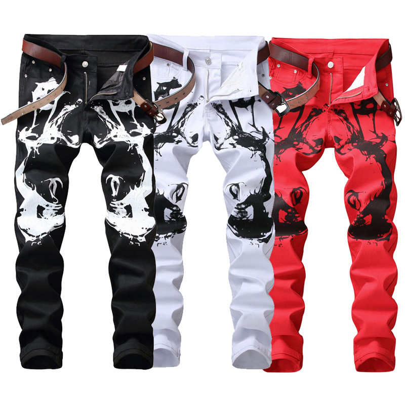 Fashion Streetwear Mens   Jeans   Slim Fit White Black Red Color Elastic Punk Pants Hip Hop   Jeans   Night Club Style Printed   Jeans   Men