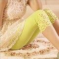 Summer ladies lace flor leggings sólidos oco para fora o projeto para as mulheres leggins moda meados bezerro calças finas capris estiramento legging