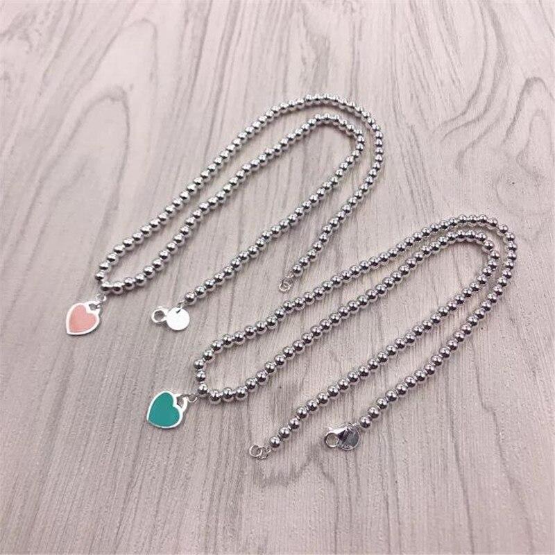 TIFF S925 sterling collier en argent, 1:1 classique vert rose en forme de coeur chaîne de perles. Tempérament populaire bijoux pour femme