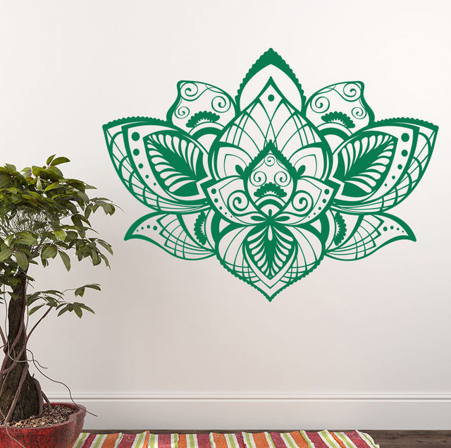 YOYOYU Wall Decal Lotus Flower Vinyl Wall Stickers Beautiful Design Home Decor Bohemian Mandala Flower Art & YOYOYU Wall Decal Lotus Flower Vinyl Wall Stickers Beautiful Design ...
