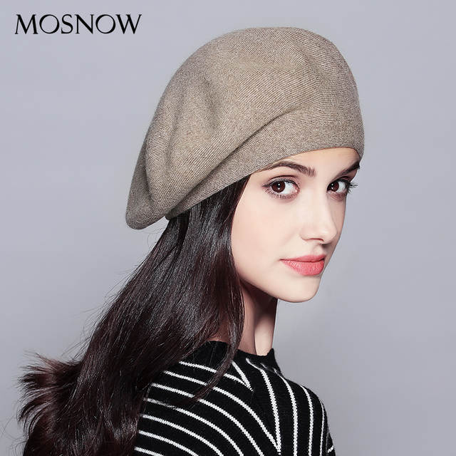 310880192 MOSNOW Women Beret Vogue Hat For Winter Female Knitted Cotton Wool Hats Cap  Autumn 2017 Brand New Women's Hats Caps #MZ729-in Berets from Apparel ...