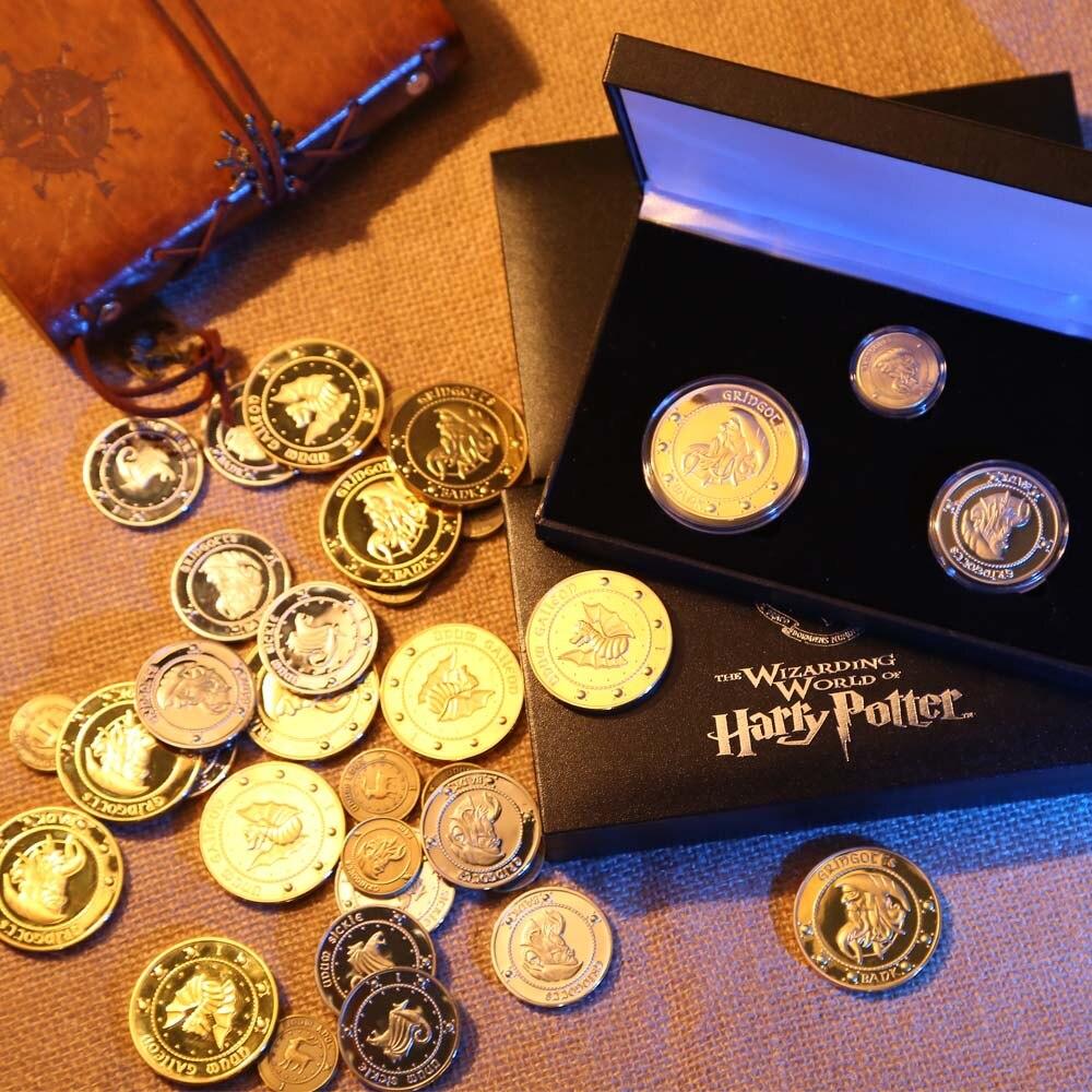 Harri potter Hogwarts Gringotts Banco Coleção de Moedas Mundo Mágico, Nobre com pano de saco banco presente de Natal Dia Das Bruxas 3 pçs/set