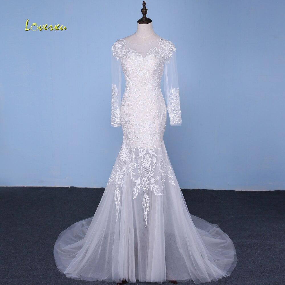 Loverxu Robe De Mariée Amovible Train Robes De Mariée Sirène 2018 Appliques Sexy Illusion Manches Longues Robe De Mariée Plus La Taille