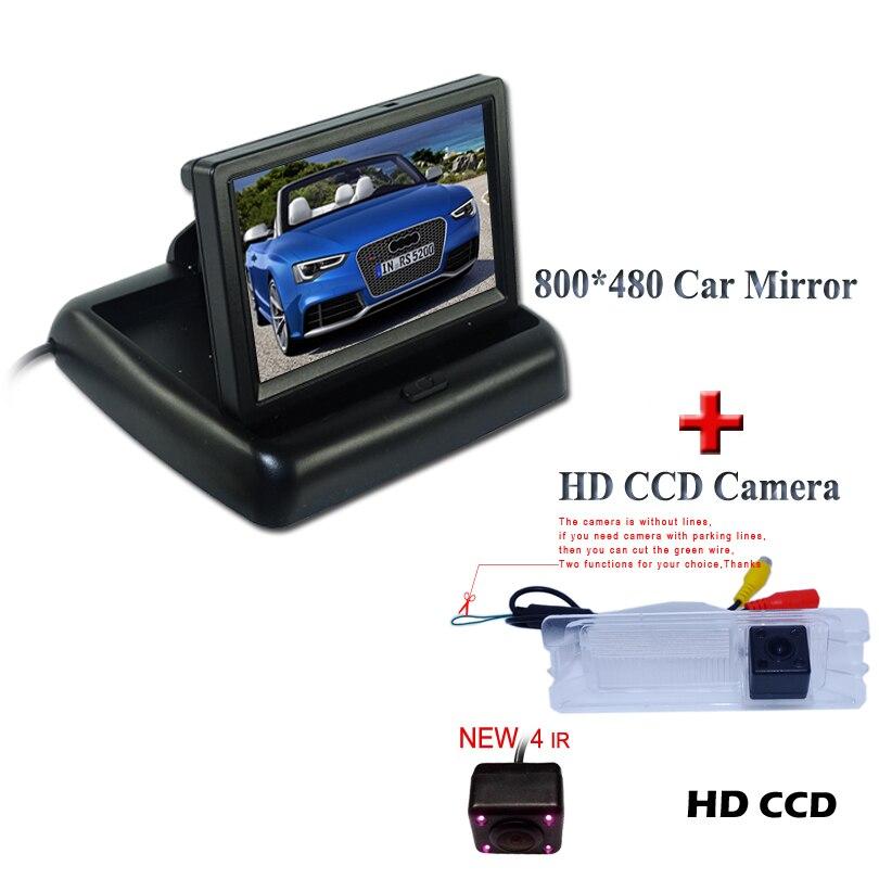 Adapté pour Nissan Mars pour Renault Logan pour Renault Sandero inverse de voiture parking kit de voiture caméra de recul avec 4.3 moniteur de voiture