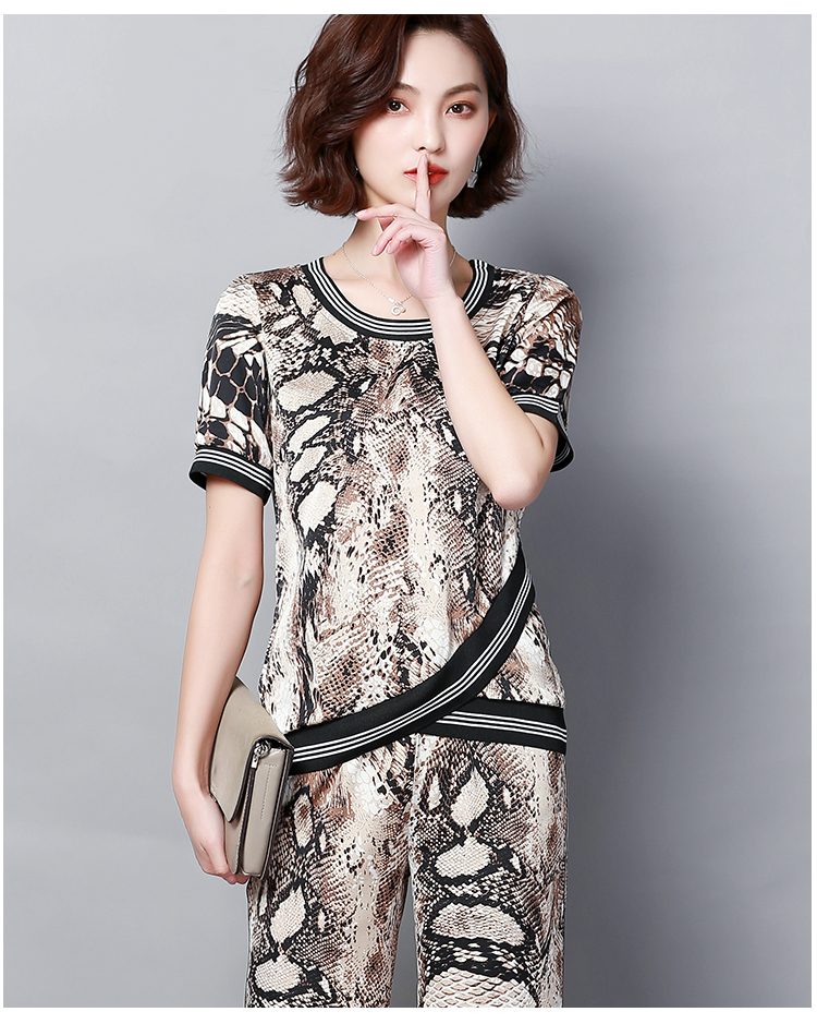 Plus Size Summer Snake Printed Two Piece Sets Women Short Sleeve Tops And Wide Leg Pants Suits Casual Elegant Korean Womens Set 48