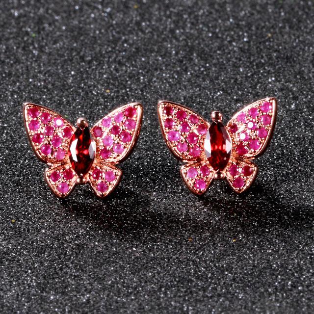 Fashion Butterfly Stud Earrings For Women New Design Wedding Jewelry Sterling 925 Silver Earring With AAAA Pink Crystal Zircon
