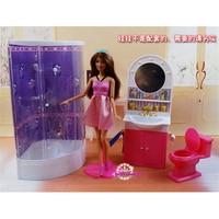 Miniature Furniture Washroom Bathroom for Barbie Doll House Best Gift Toys for Girl Christmas / Birthday Gift Children Play Set