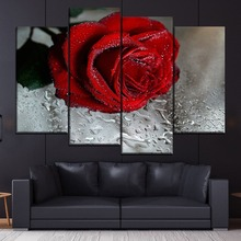 4 Piece Style Picture Canvas Printing Type Drops of Water Red Rose Flowers Painting Modern Home Decor Wall Artwork  Poster