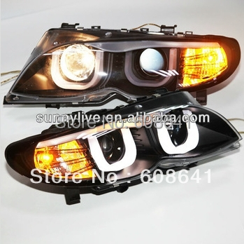 For BMW E46 Head lamp 4 doors Angel Eyes 2001 2004 E46 318 320 323 325 330CI year
